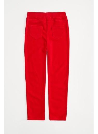 DeFacto Kız Çocuk  Süs Cep Detaylı Kadife Kumaş Tayt Kırmızı